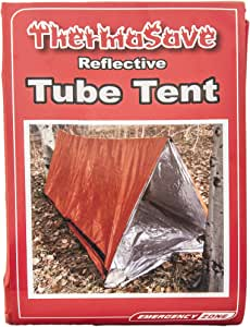 Emergency Zone Reflective & Green Survival 2 Person Tube Tents. Available in 1, 2, 3, 48 Packs. (Orange/Reflective, 1)