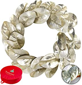 Frdsomar 21 Inch Christmas Wreath with Storage Container for Front Door, Artificial Wreath with Silver Leaves, Winter Wreaths for Indoor, Outdoor Decor, Windows and Wall, Fireplace Decoration