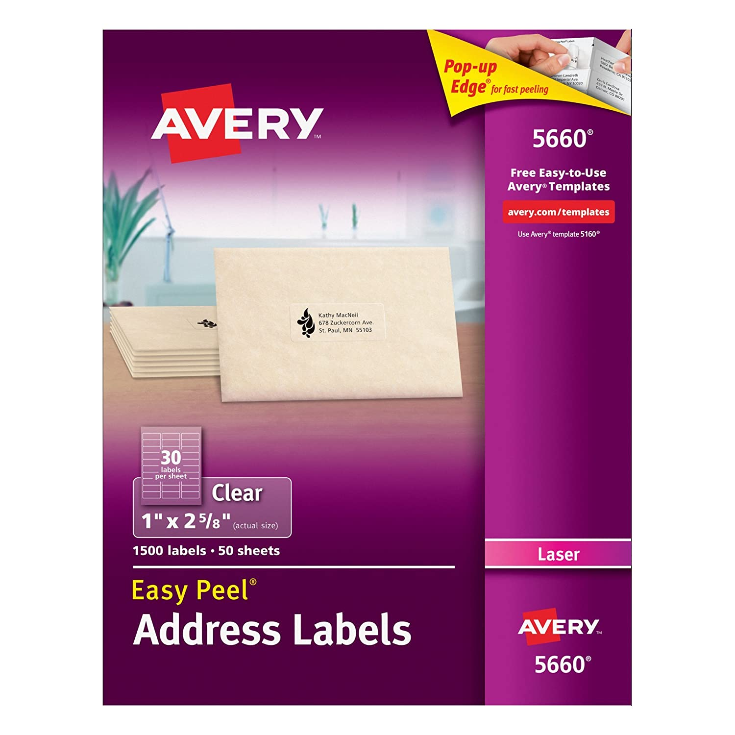 Amazon.com : Avery Easy Peel Clear Mailing Labels for Laser ...
