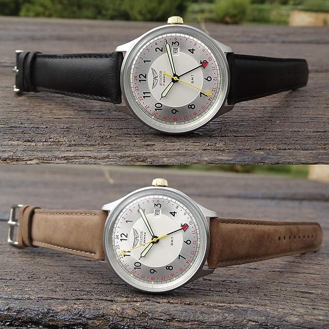 Aviator F-Series - Reloj de Pulsera para Hombre, Estilo Vintage, con Correa Intercambiable, de Cuarzo GMT: Aviator F-Series: Amazon.es: Relojes