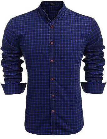 Coofandy Men s Button Down Shirts Casual Slim Fit Plaid Long Sleeve Shirt bda3557304ac