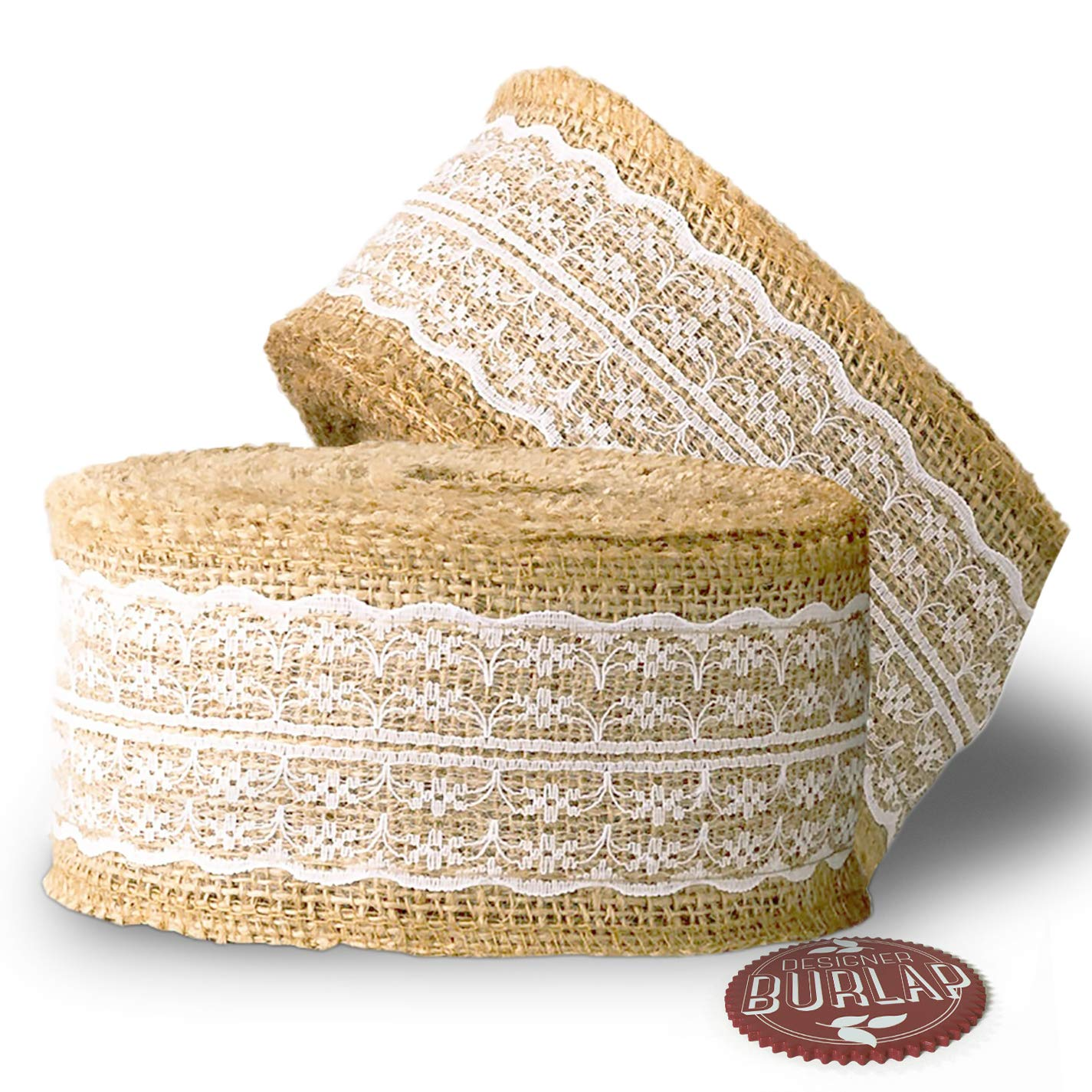 Burlap Ribbon with White Lace - 39 Feet Long - Burlap Lace Ribbons. DSW Quality Products 4336858375