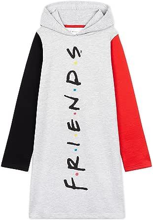 Friends Sudadera Niña, Vestidos Sudadera Algodon 100%, Sudaderas con Capucha, Merchandising Oficial Regalos para Niñas y Adolescentes Edad 7-14 Años