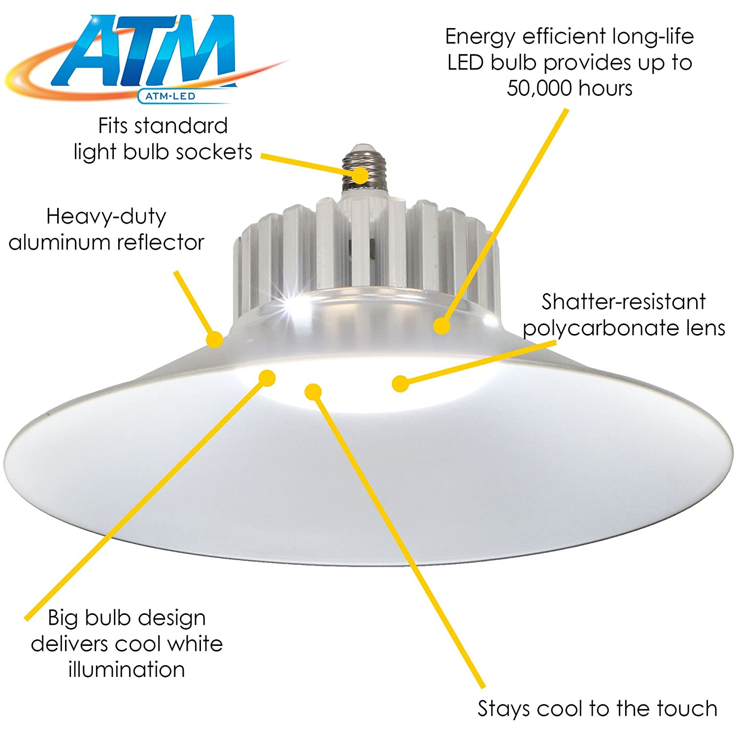 Garage Workshop or Shed ATM-LED 6-Pack 30W Energy-Efficient 6000K Daylight LED Replacement Utility Bulb with Aluminum Reflector 3300 Lumens Basement