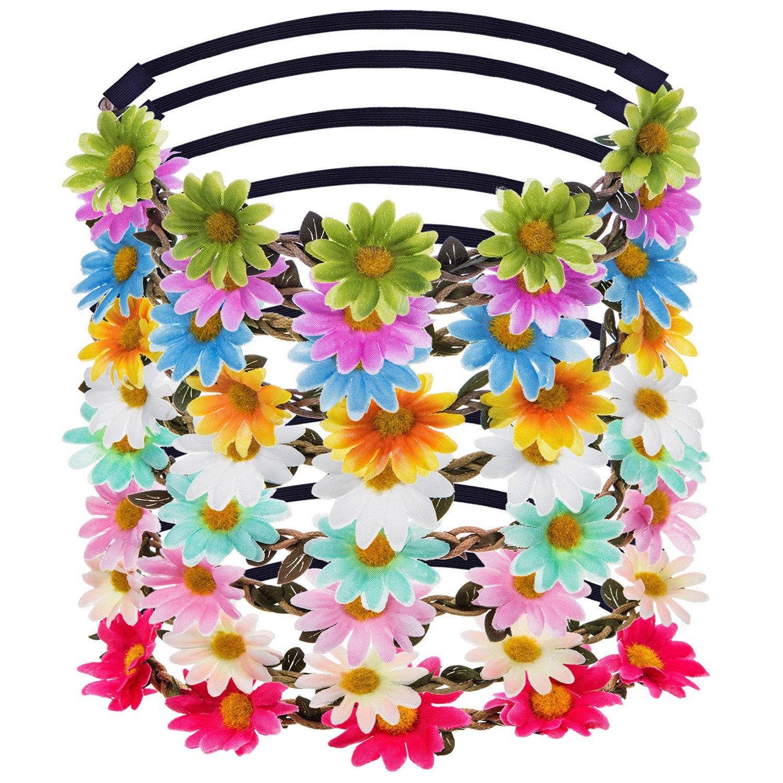 Dame Fille Bandeau Multicolore Guirlande Floral Couronne Fleur pour Fête de Mariage, 9 pièces eBoot