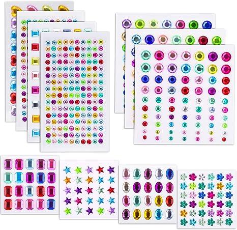 12 Sheets Rhinestone Stickers Self-adhesive Acrylic Crystal Jewels Gems