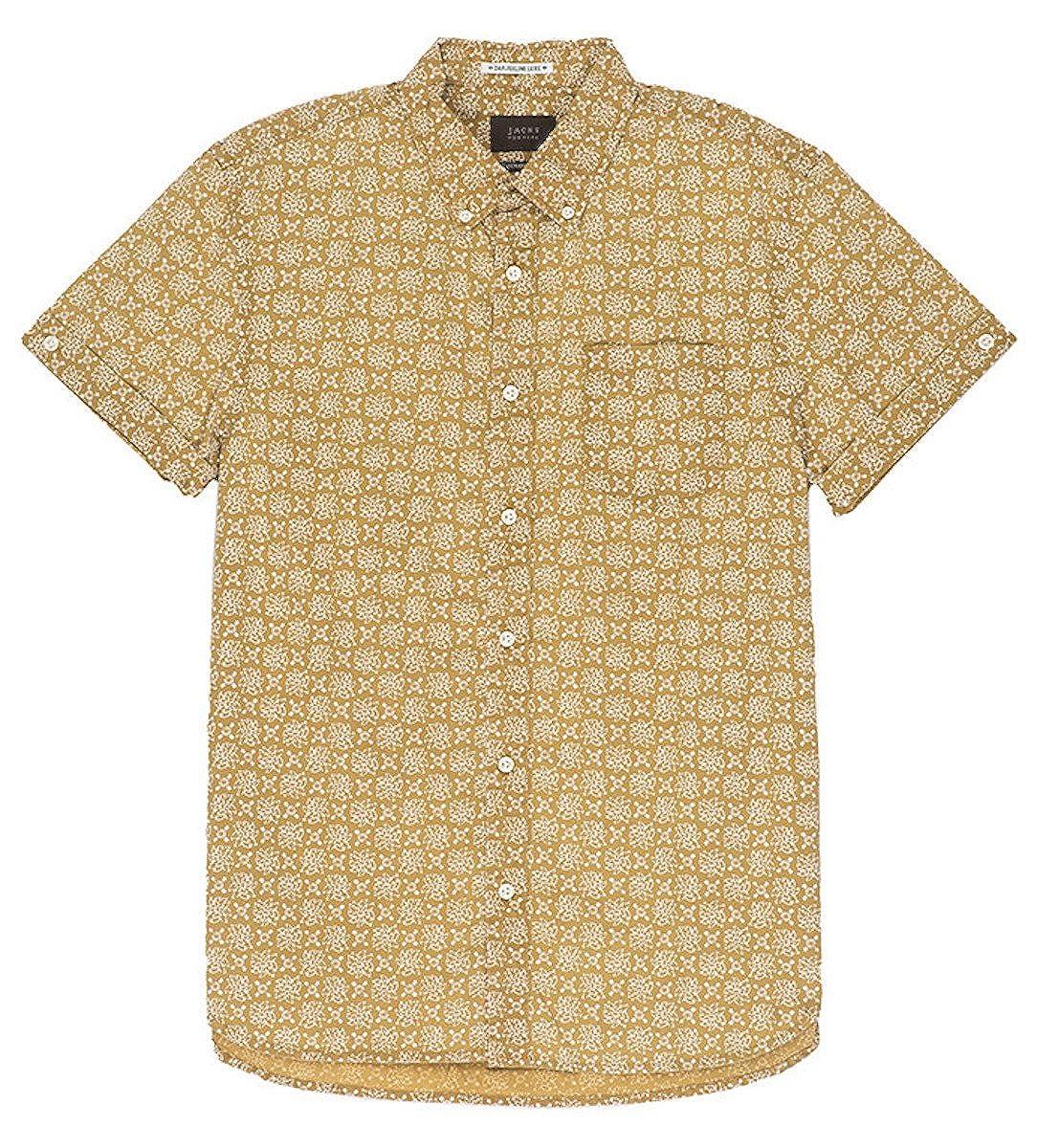 JACHS New York Mens Gold Lotus Print Short Sleeve Shirt LRG
