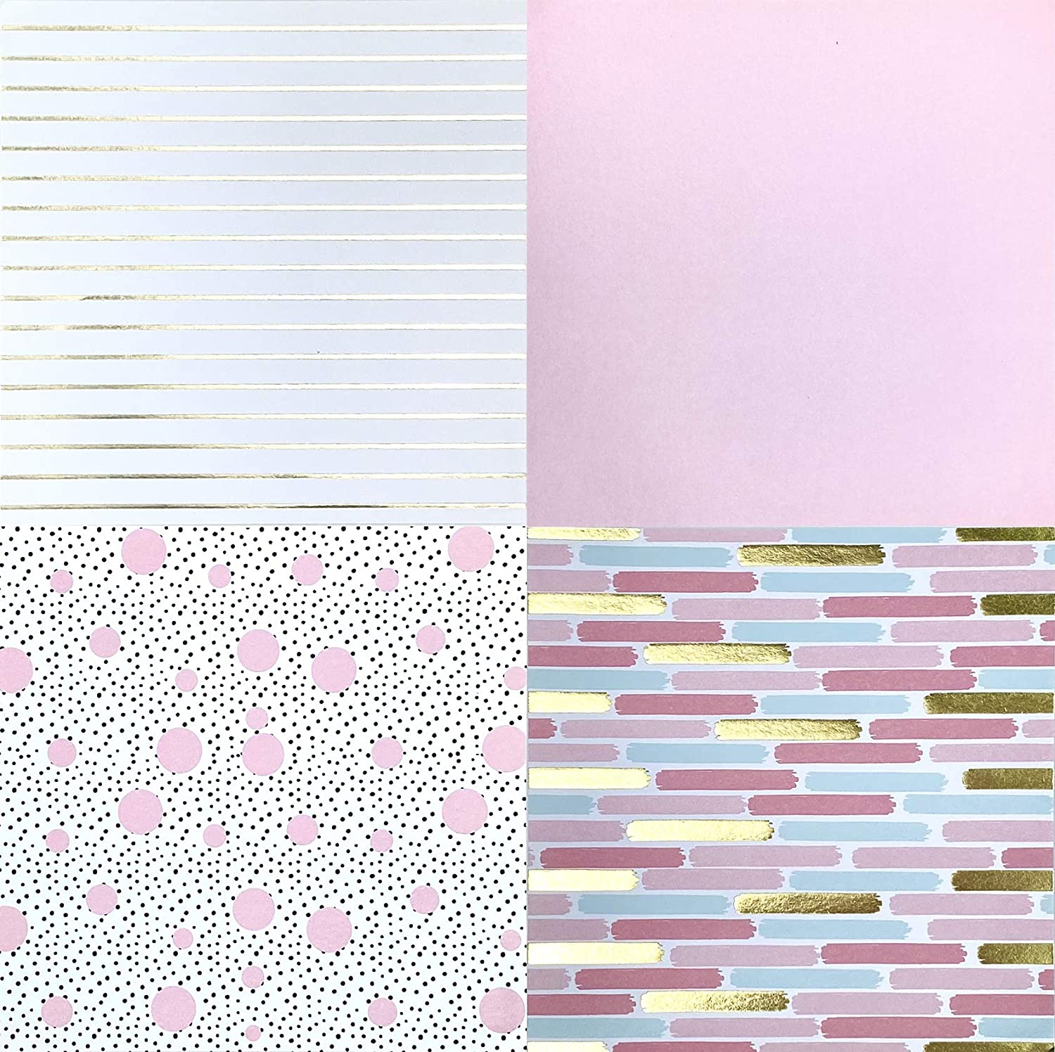 Besecraft Designer Cardstock Paper Pad for Crafting for Origami Paper Pads Scrapbooking Decorative Gift Wrapping 8 Designs 24 Sheets Decopage Book Covers 5.9x5.9 inches Multi-Colored and Foil