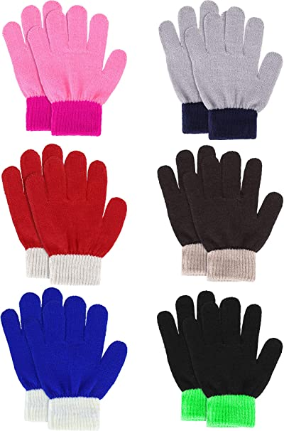 BOYS /& GIRLS UNISEX CHILDREN/'S WINTER MAGIC GLOVES STRETCHY KNITTED 6 COLOURS