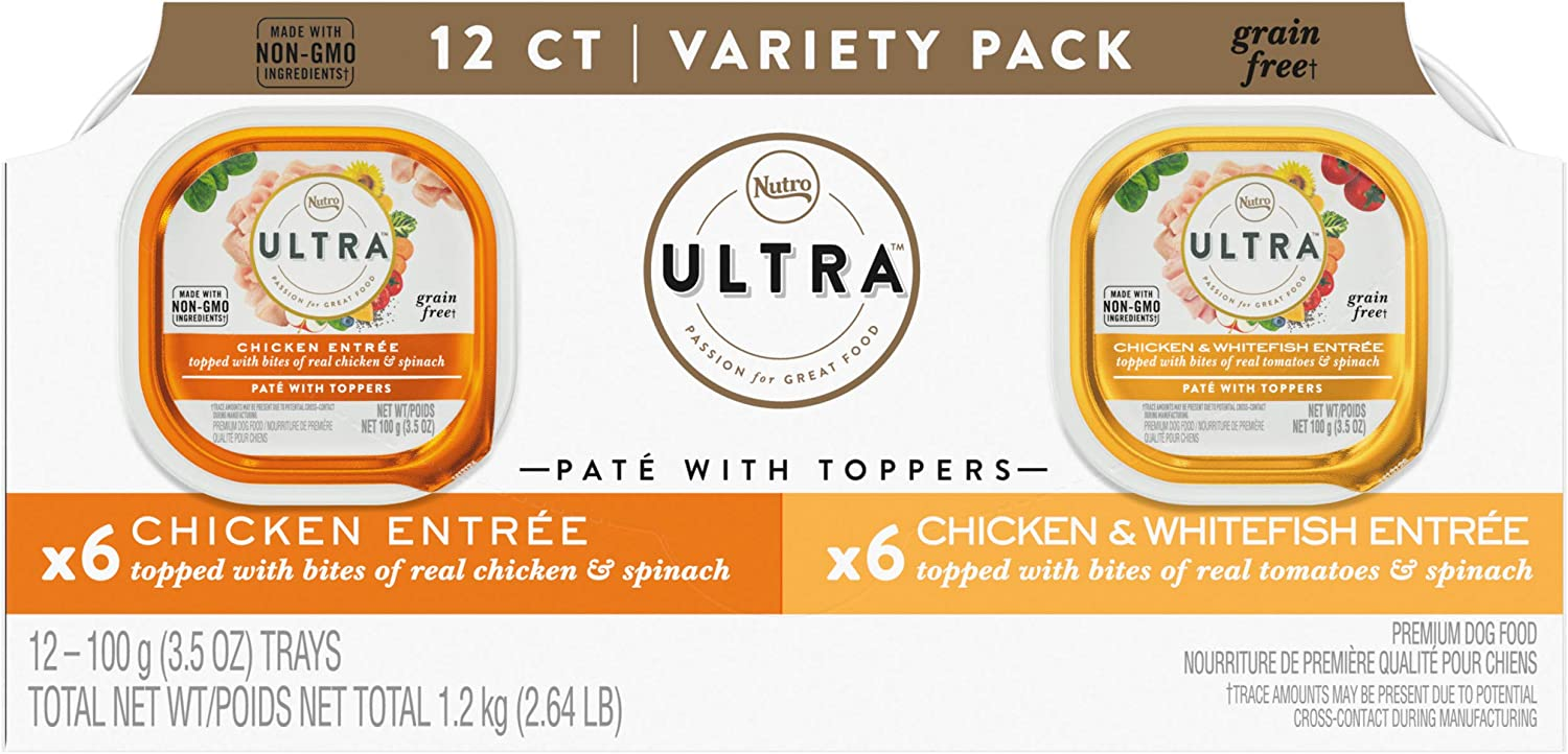 NUTRO ULTRA Adult Grain Free Soft Wet Dog Food, Variety Pack, Chicken and Chicken & Whitefish Entrée Paté with Toppers, (12) 3.5 oz. Trays
