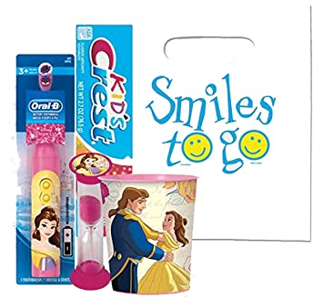 Beatuy and the Beast Belle 4pc Bright Smile Oral Hygiene Bundle! Turbo Powered Toothbrush,