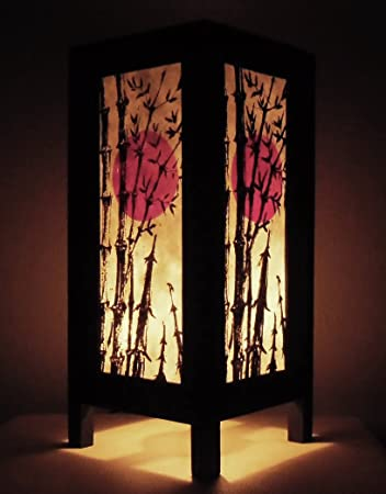 Rare Thai Vintage Handmade Paper Lamp Asia Oriental Japanese Bamboo Sunset Lights Bedside Floor Or Table