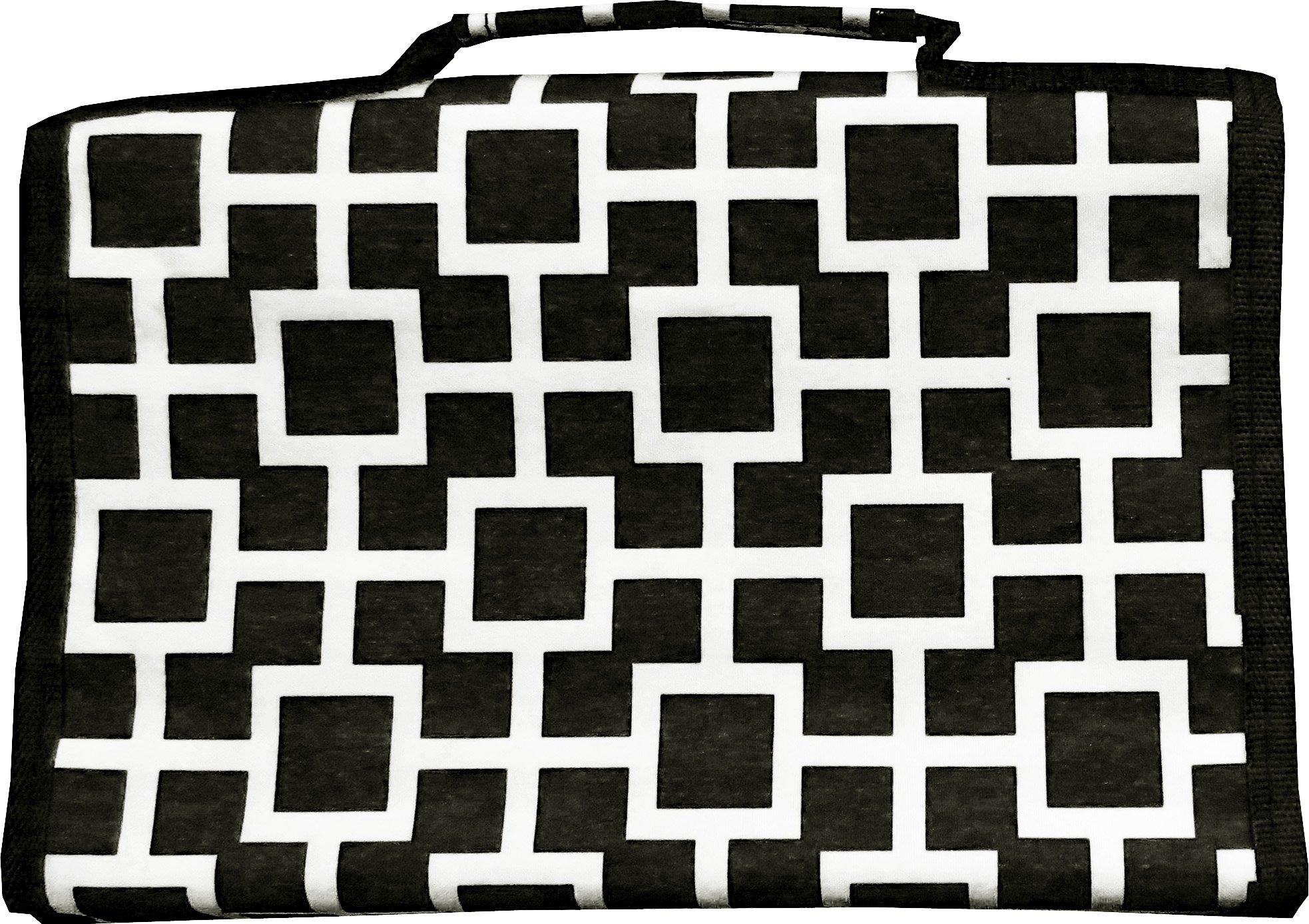 Black Geometric Hanging Travel Jewelry Roll Organizer - 26 compartments