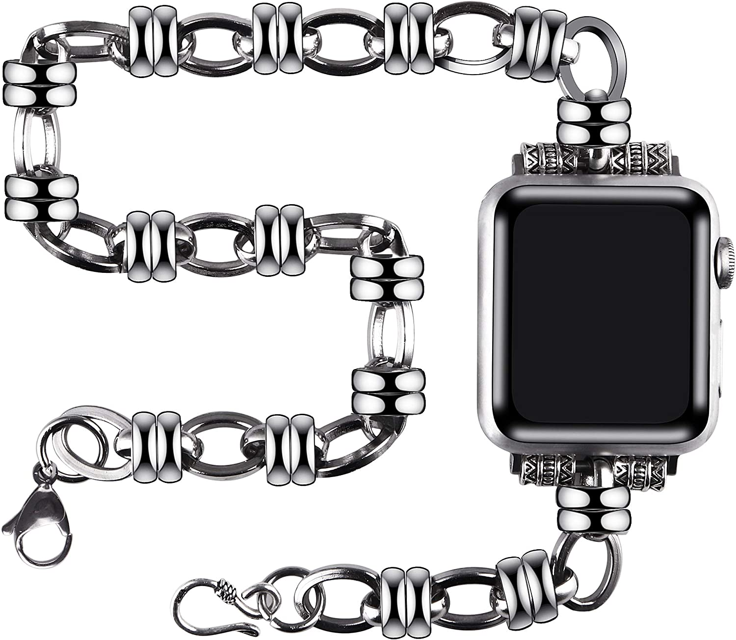 vikoros Stainless Steel Double Tour Bands Compatible with Apple Watch 38mm 40mm 42mm 44mm iWatch SE Series 6 5 4 3 2 1 for Women Mens, Metal Jewelry Dressy Chain Replacement Wristband Strap