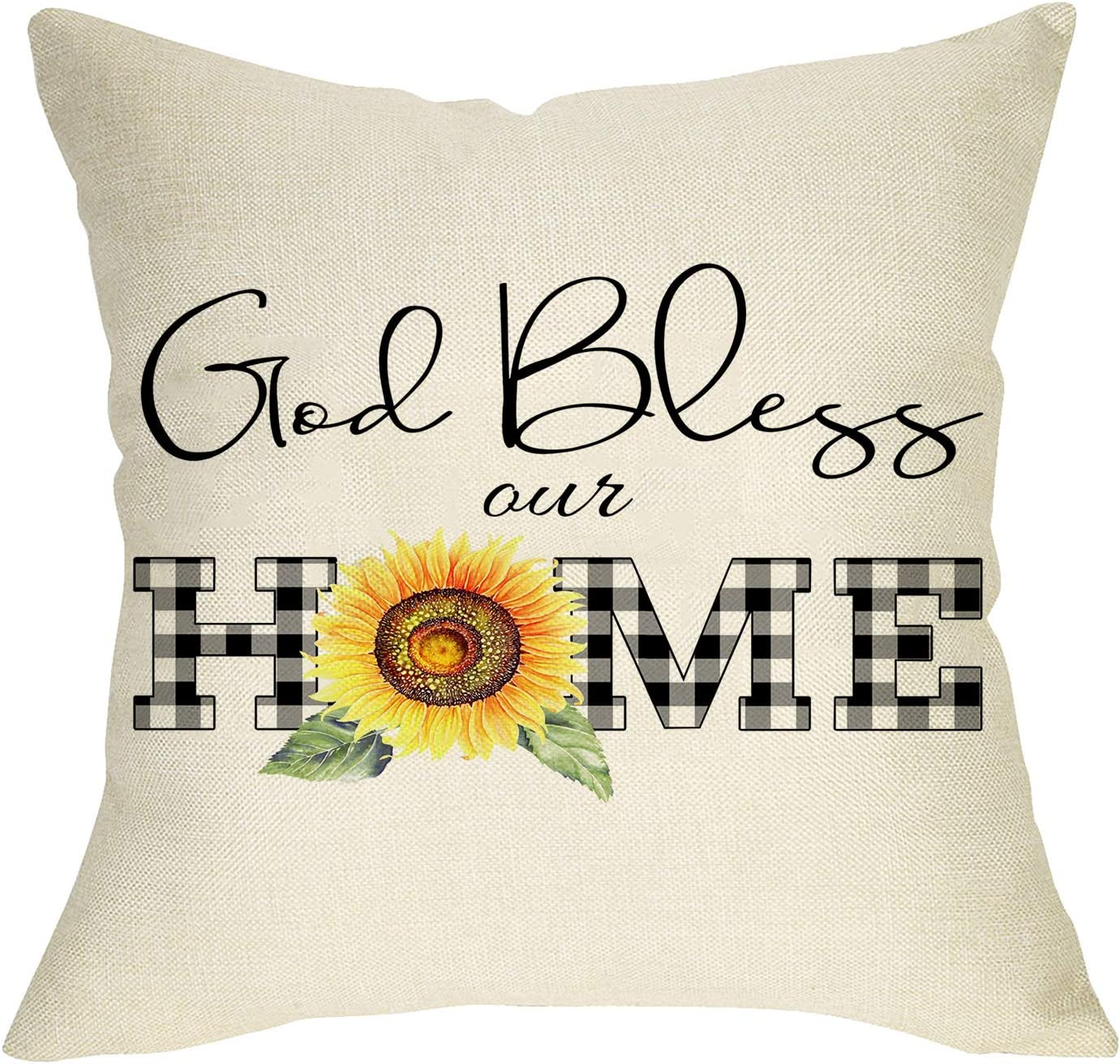 Softxpp God Bless Our Home Decorative Farmhouse Throw Pillow Cover, Buffalo Plaid Check Sunflower Spring Summer Sign Cushion Case, Flower Home Decoration Outside Pillowcase Decor for Sofa Couch 18x18