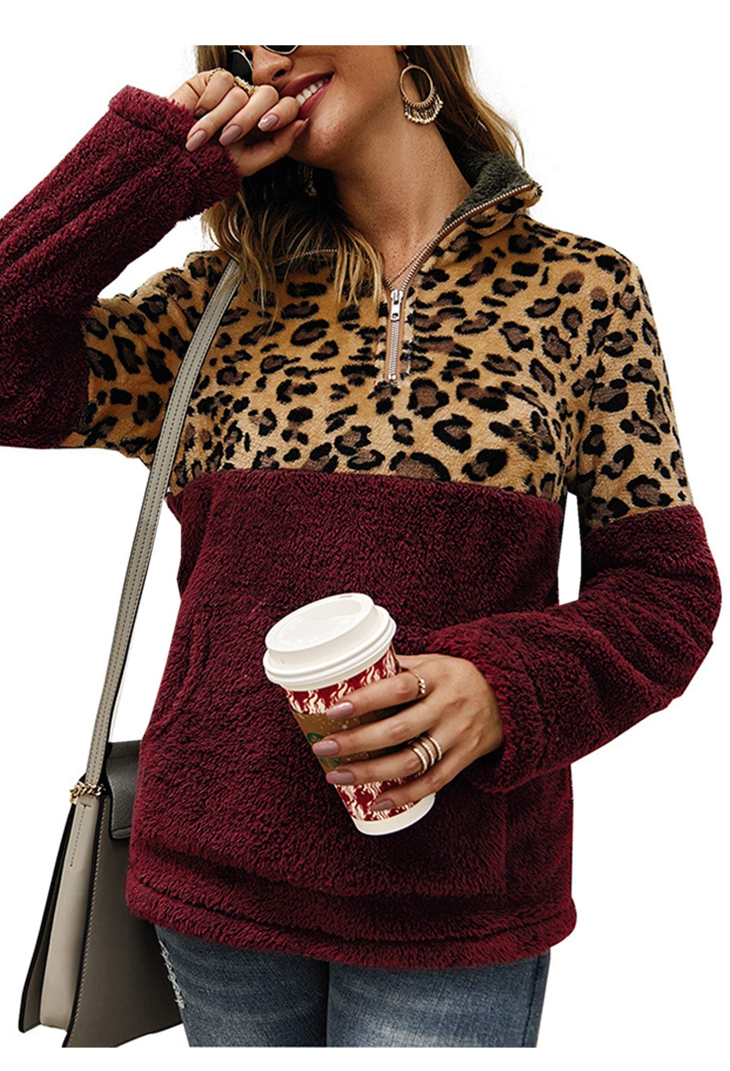 Angashion Womens Long Sleeve Half Zip Up Warm Fuzzy Leopard Print Patchwork Fleece Pullover Tops with Pocket for Winter Wine Red M by Angashion