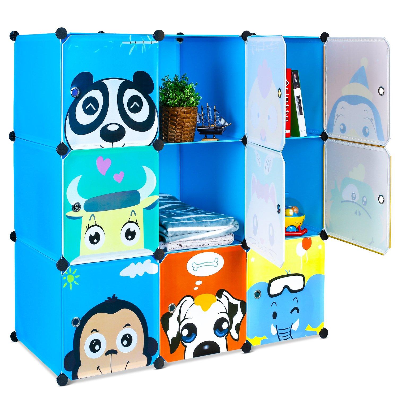 HOMFA Kid's Toy Storage Organizer, Bulk Storage 9 DIY Large Bins Closet Cabinet Display Modular, Multi-Functional Cubes for Toys, Clothes, Books etc, Cartoon Pattern Plastic