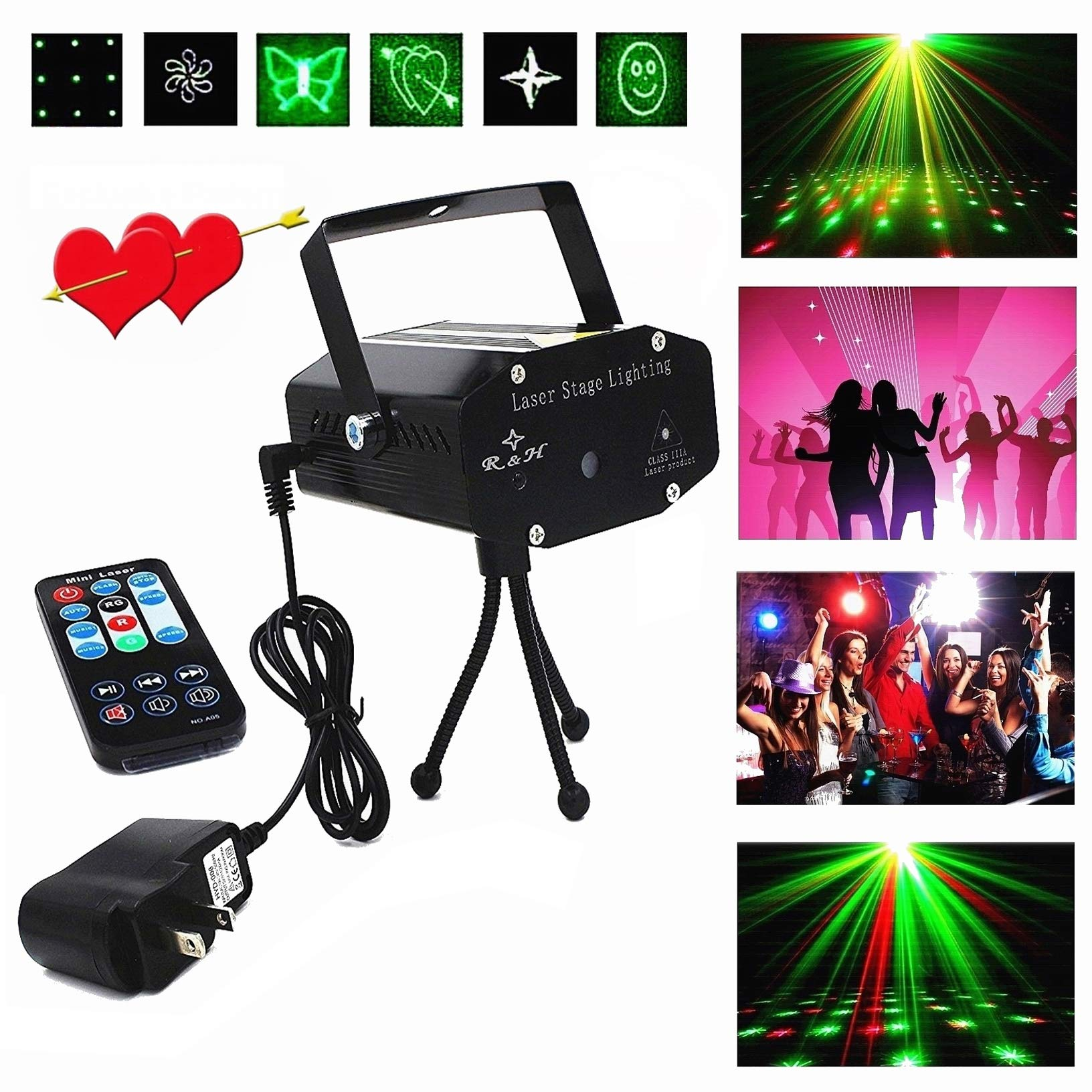 Disco Laser LED Projector Stage Lights Mini Auto Flash RGB Led Stage Lights Sound Activated for DJ Disco Party Home Show Birthday Party Wedding Stage Lighting Lights with Remote Control by R&H