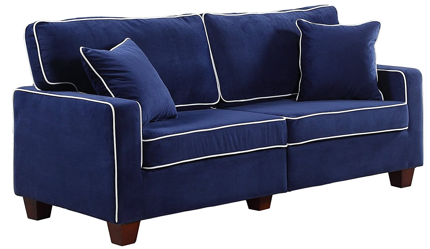 Amazon com divano roma furniture collection modern two tone velvet fabric living room love seat sofa blue kitchen dining
