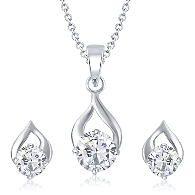 Vk Jewels Delicate Silver Drop Solitaire Pendant Set With Earrings For Women - Ps1001R [Vkps1001R] Jewellery Sets at amazon