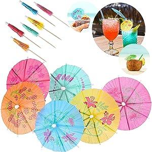 24 Pieces Multi-Color Cocktail Drink Umbrellas Colorful Paper Hawaiian Tropical Cocktail Parasol Umbrella Cupcake Topper for Party Supplies