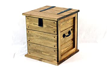 The Handmade Furniture Company Small Rustic Pine Waxed Trunk Linen Chest  Toy Box Ottoman Boot Shoe