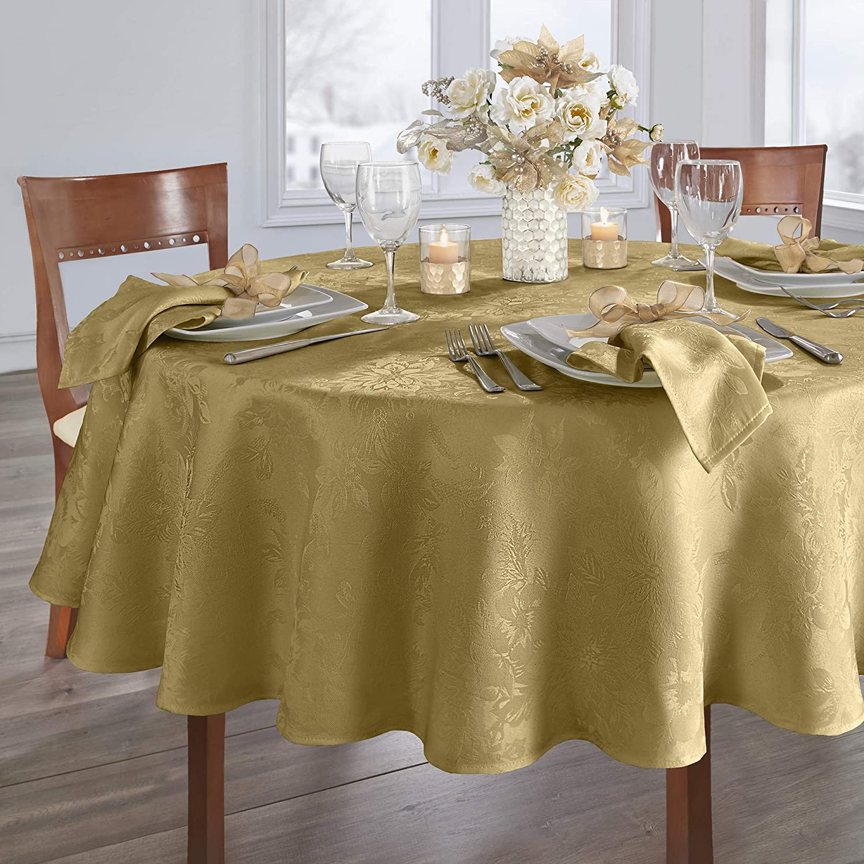 Elrene Home Fashions Poinsettia Elegance Jacquard Holiday Tablecloth, 70