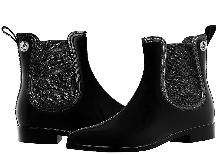 Silky Toes Women's Fashion Elastic Slip On Short Rain Boots B077F172PR 38 M EU|Black With Black Metallic Elastic