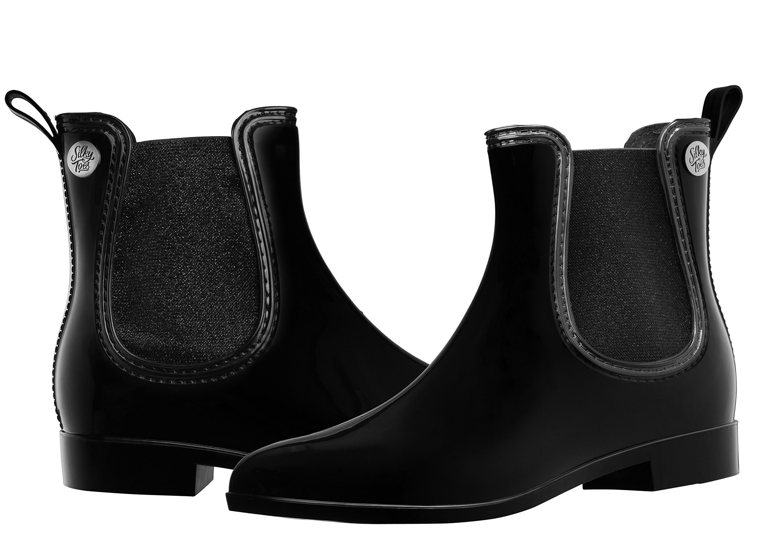Silky Toes Women's Fashion Elastic Slip On Short Rain Boots (36, Black with Black Metallic Elastic)