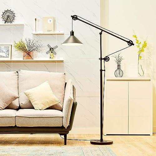 CO-Z Industrial Pulley Floor Lamp Adjustable
