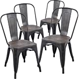 Poly and Bark Trattoria Side Chair with Elm Wood Seat in Bronze (Set of 4)