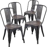 Amazon.com - Lemoderno Galvanized Steel Side Chair (4, Gun