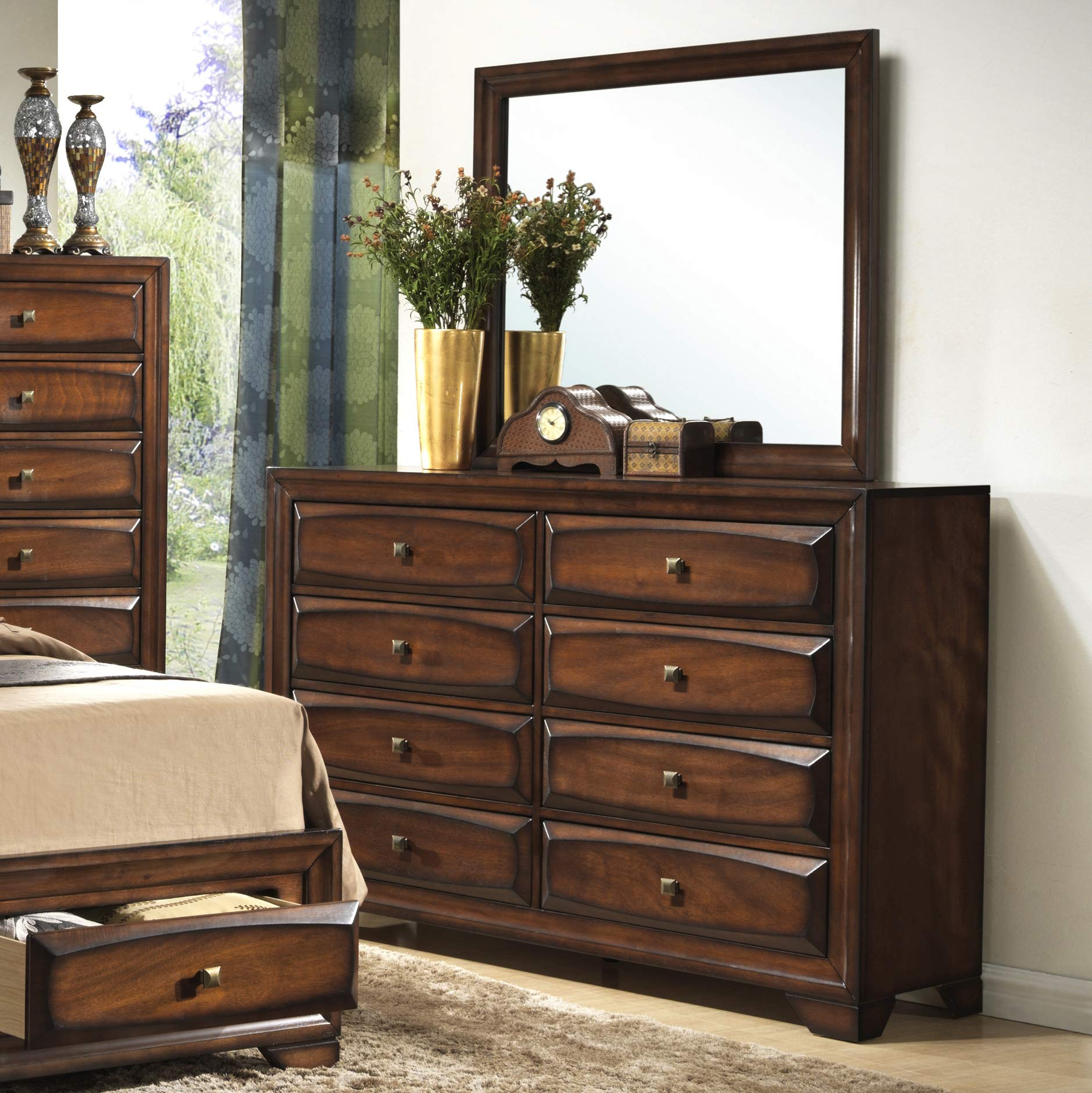Roundhill Furniture Oakland 139 Wood Drawers Dresser and Mirror, Antique Oak Finish by Roundhill Furniture
