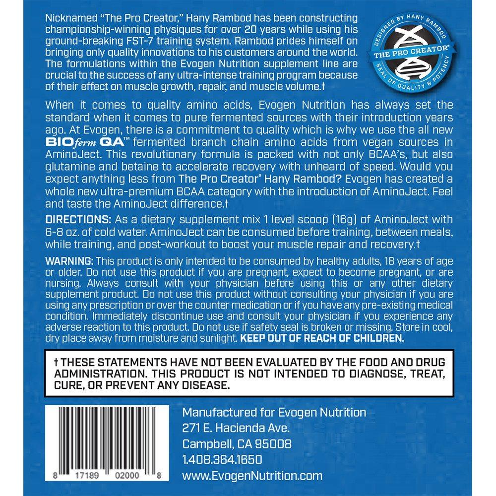 Evogen AminoJect, Vegan Fermented Plant Based BCAA, Glutamine, Citrulline Powder, Raspberry Lemonade, 30 Servings