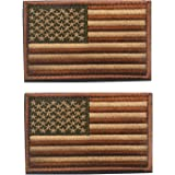 2 pieces Tactical USA Flag Patch -Subdued Tan- American Flag Embroidered Brown Border US United States of America Military Uniform Emblem Patches