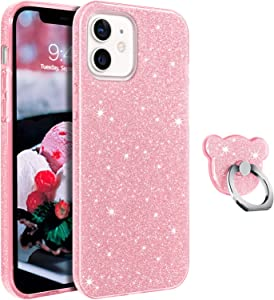 GUAGUA Compatible for iPhone 12/12 Pro Case 6.1-inch 5G Glitter Sparkle Bling Shiny Cute Cover with Extra Finger Ring Holder Kickstand Protective Phone Cases for iPhone 12 Pro/12 2020 Pink Rose Gold