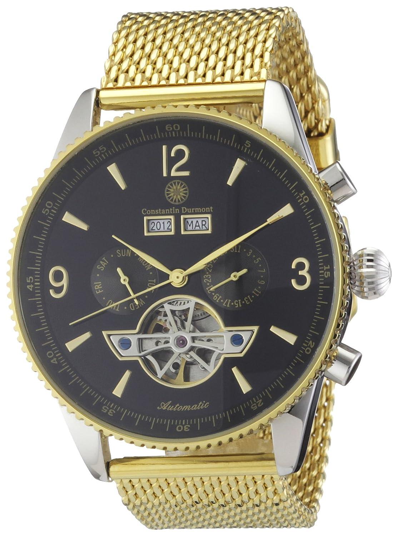 Constantin Durmont Travis CD-TRAV-AT-GDM2-STGD-BK - Reloj analógico automático para Hombre, Correa de Acero Inoxidable Chapado Color Dorado