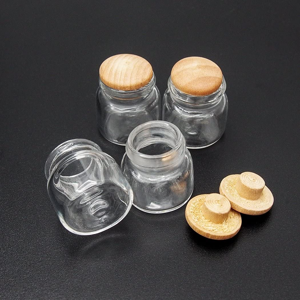 Odoria 1:12 Miniature 4PCS Display Glass Bottles Jars with Cork Dollhouse Kitchen Accessories