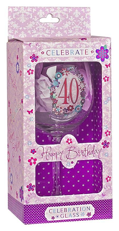 Recuerdo de celebración Cristal de vino para 40 cumpleaños ...