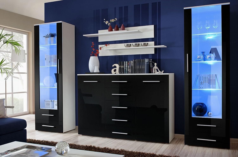 JUSTyou GULINO D Parete da soggiorno Parete attrezzata (AxLxP): 190x340x45 cm Bianco Opaco | Bianco Lucido JUSThome