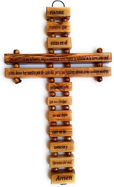 9 Inches in Spanish Handmade in Bethlehem Holy Land Olive Wood Large Wall Cross Our Father Prayer with Lords Prayer