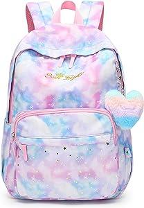 Girls Backpack for Kid in Elementary Large Size School Bookbag-Caran·Y Purple