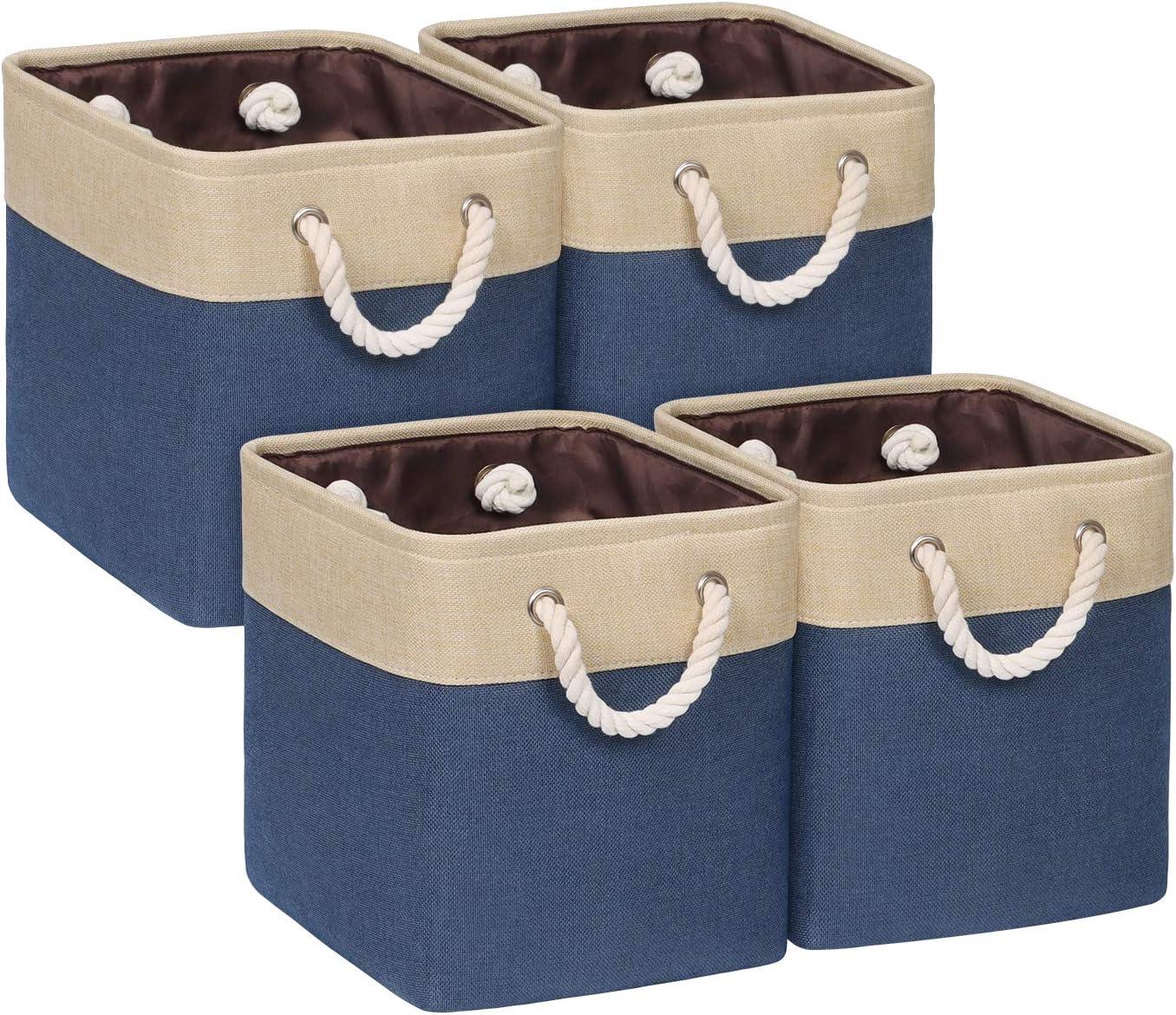 Univivi Cube Storage Bins [4-Pack] Blue Fabric Storage Cubes with Sturdy Cotton Carry Handles Storage Basket for Shelf Closet Nursery Home Office Organizing (10.5