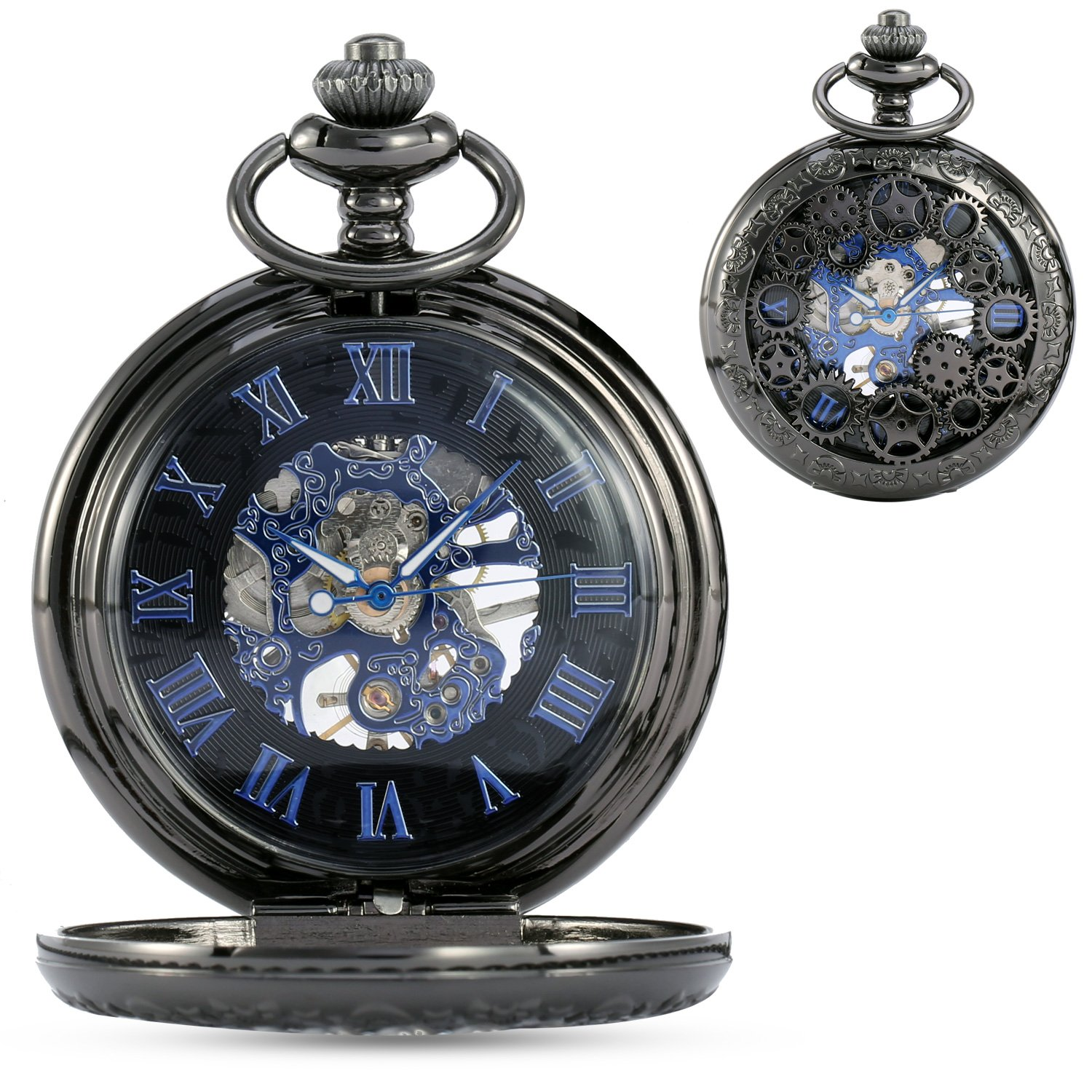 ALIENWOLF Steampunk Vintage Pocket Watch Mechanical Skeleton with Chain & Roman Numerals Analog for Special Days Gift