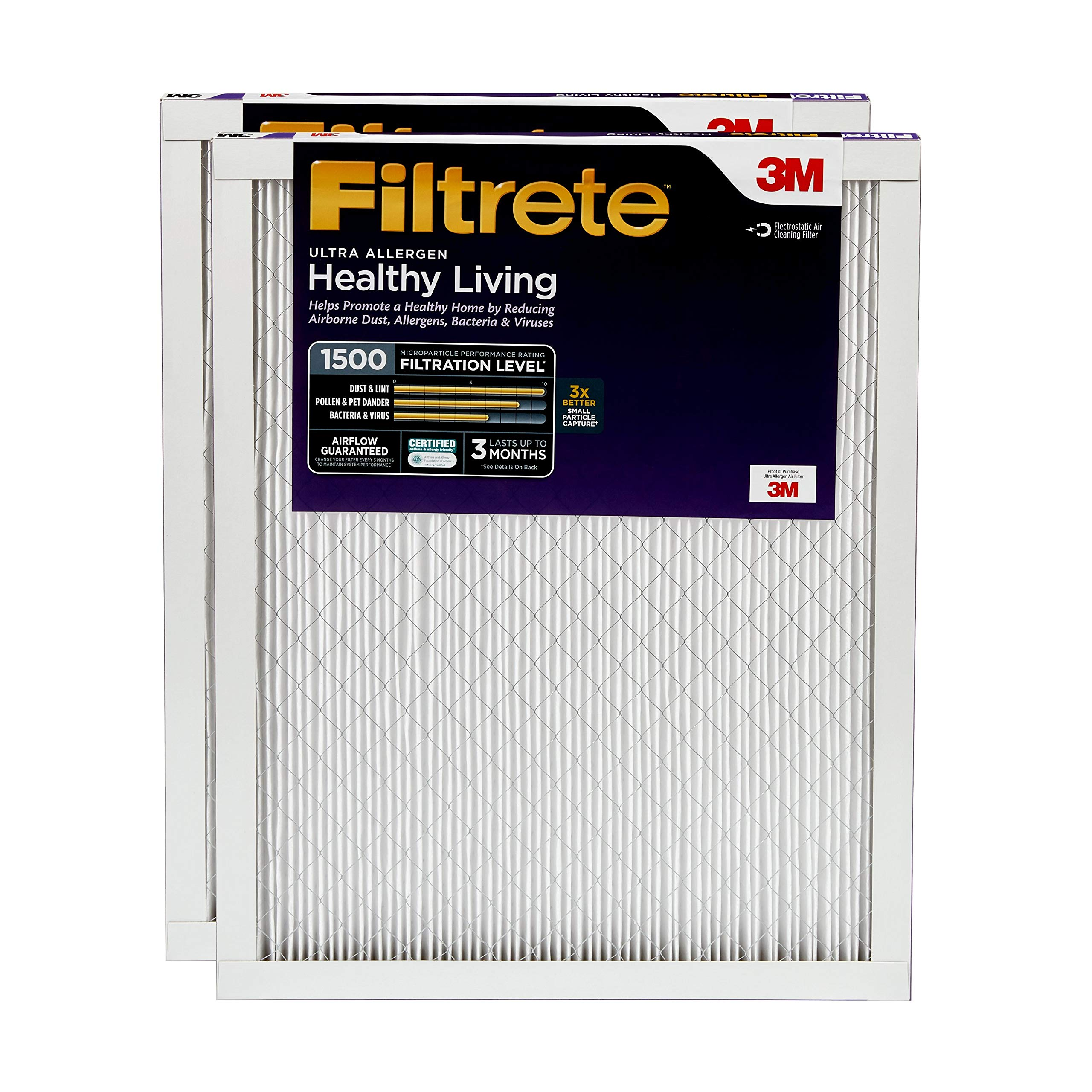 Filtrete 16x25x1, AC Furnace Air Filter, MPR 1500, Healthy Living Ultra Allergen, 2-Pack by Filtrete