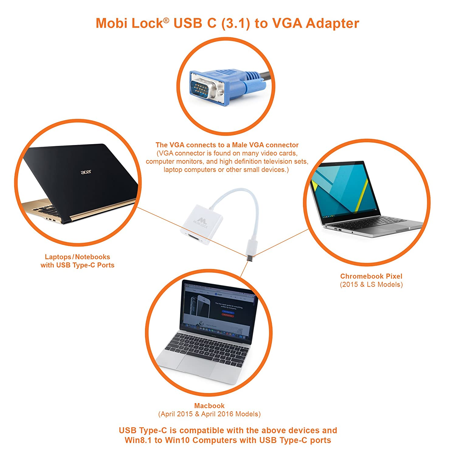Mobi Lock Usb C 31 To Vga Adapter Cable Compatible For All Wiring Diagram Macbook Retina 12 2015 And Later Pro 13 Late 2016 15