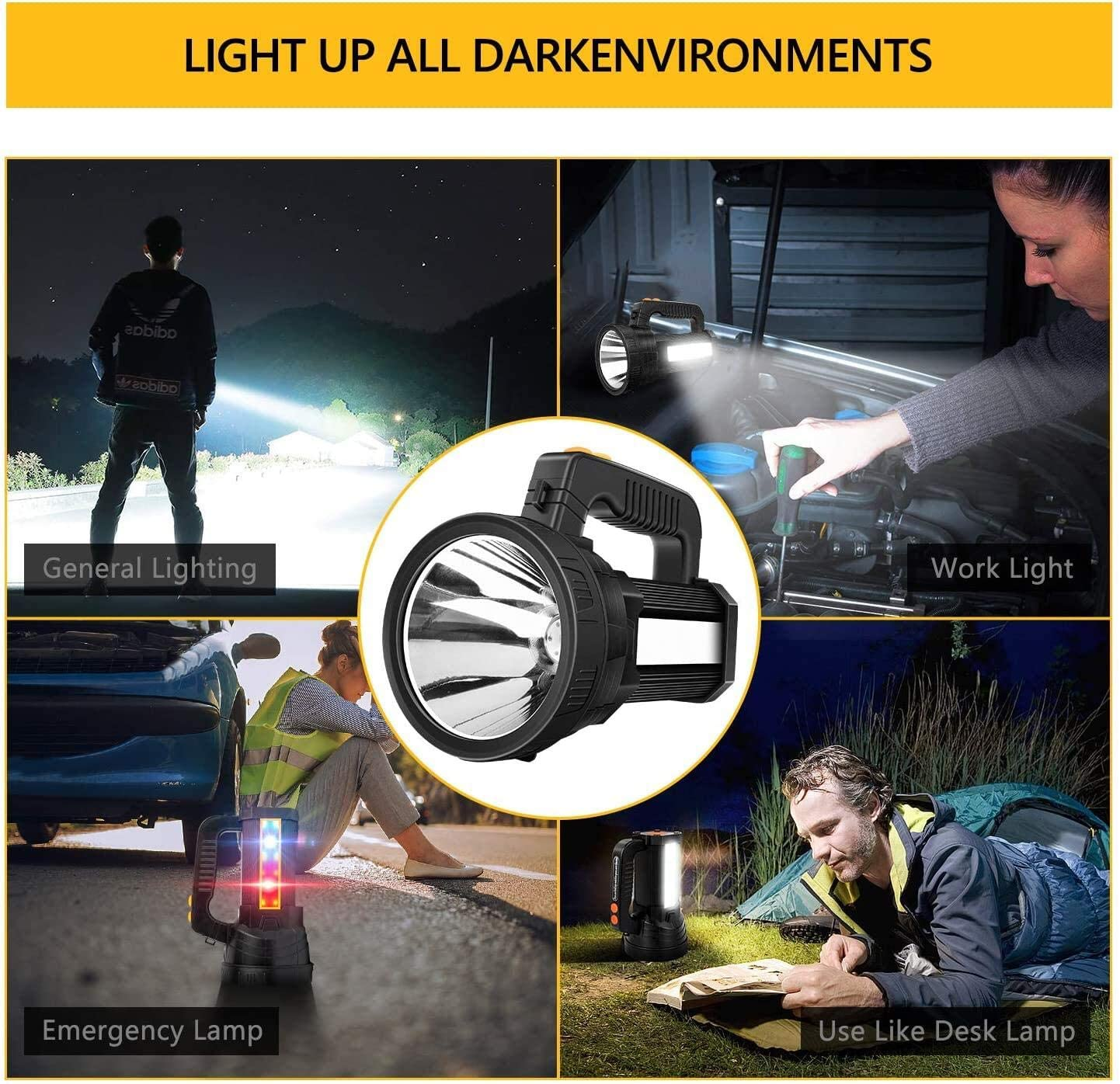 USB Output PowerBank 6 Light Modes Side Floodlight Super Bright LED Handheld Spotlight Flashlight Rechargeable 9600mAh 6000 Lumens Long Lasting Spot Light CREE Waterproof Tactical Torch
