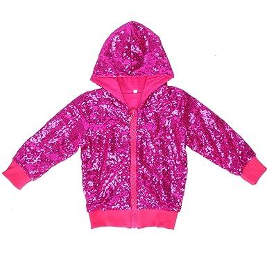 dc7143430acd Amazon.com  Cilucu Kids Jackets Girls Boys Sequin Zipper Coat Jacket ...