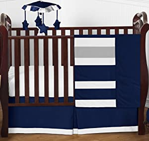Sweet Jojo Designs Navy and Grey Stripe Baby Boy Girl Nursery Crib Bedding Set - 4 Pieces - Blue, Gray and White Gender Neutral