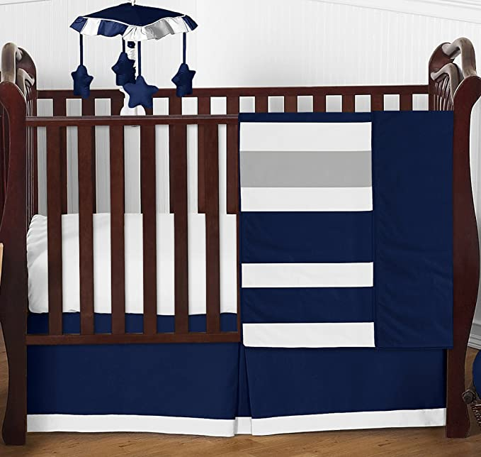 Baby Boy  Girl Crib Cot Bedding with Bumper made from Classic Story Time Toile Fabric White Sage Blue Stripes